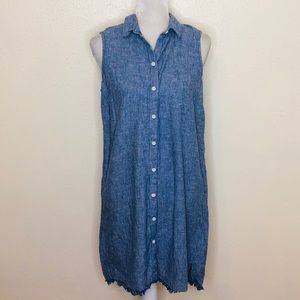 Beach lunch lounge Button Up Dress Striped